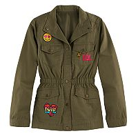 Girls 4-16 SO® Lightweight Patch Applique Anorak Jacket
