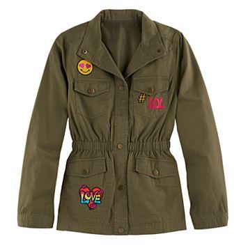 Girls 4-16 SO® Lightweight Patch Applique Anorak Jacket