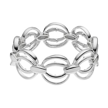 Napier Elliptical Circle Link Stretch Bracelet