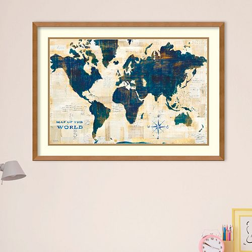 Amanti Art World Map Collage Framed Wall Art
