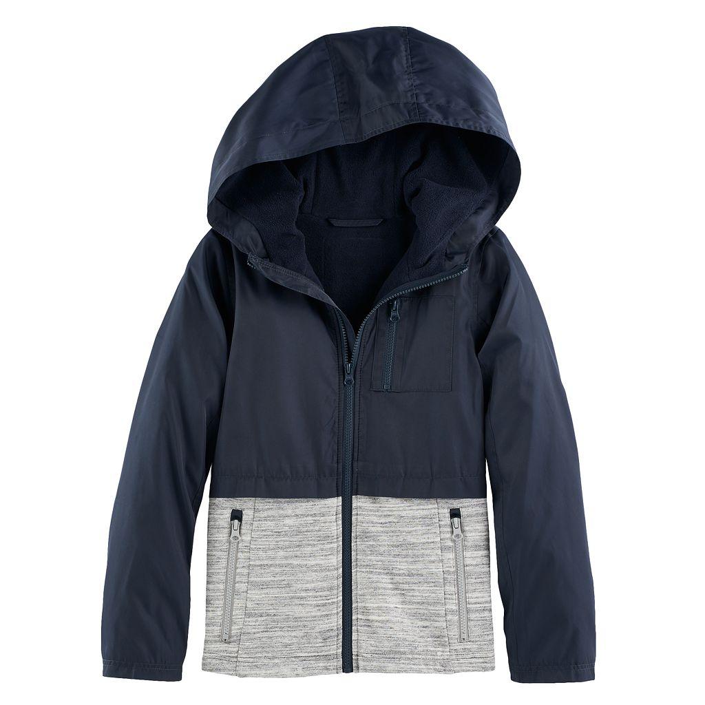 Girls 4-16 SO® Mixed Media Fleece Lined Rain Jacket