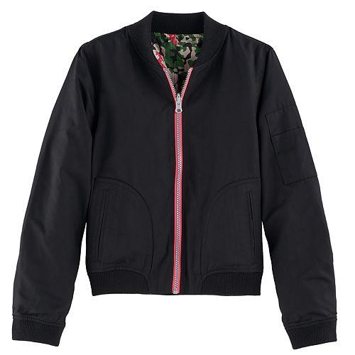 Girls 7-16 SO® Reversible Lightweight Camo Floral Bomber Jacket