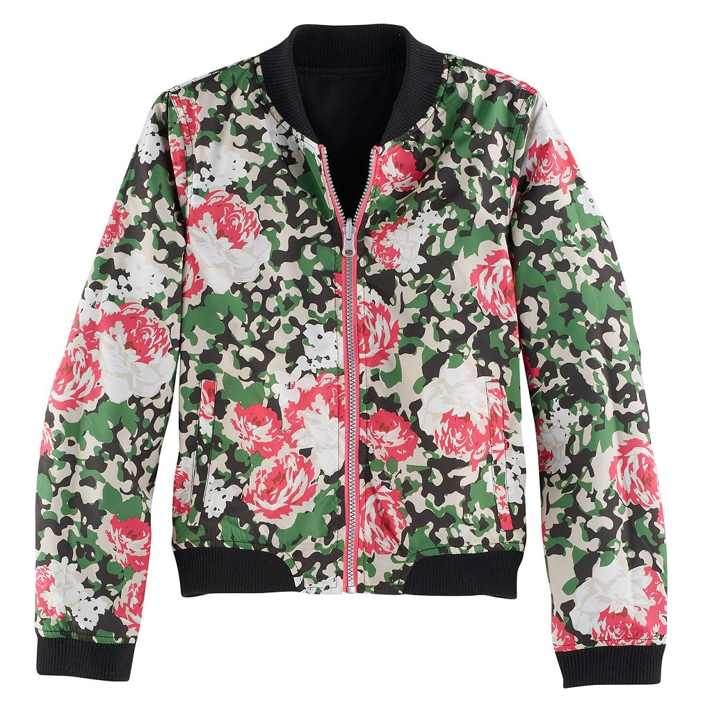Girls 7-16 SO® Reversible Lightweight Camo Floral Bomber Jacket