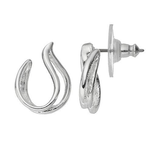 Napier Crisscross Teardrop Hoop Earrings