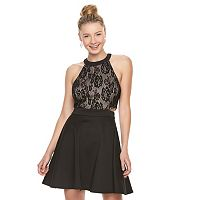 Juniors' Speechless Lace Cutout Skater Dress