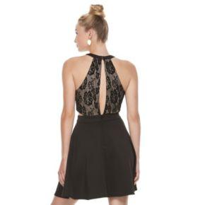 Juniors' Speechless Lace Cutout Skater Dress