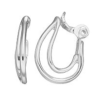 Napier Curved Nickel Free Clip On Double Drop Earrings