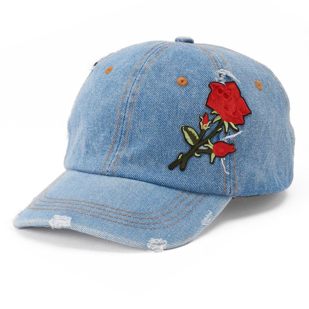 Women's Mudd® Rose Applique Denim Baseball Cap