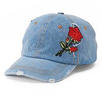 Women's Mudd® Rose Applique Denim Baseball Cap