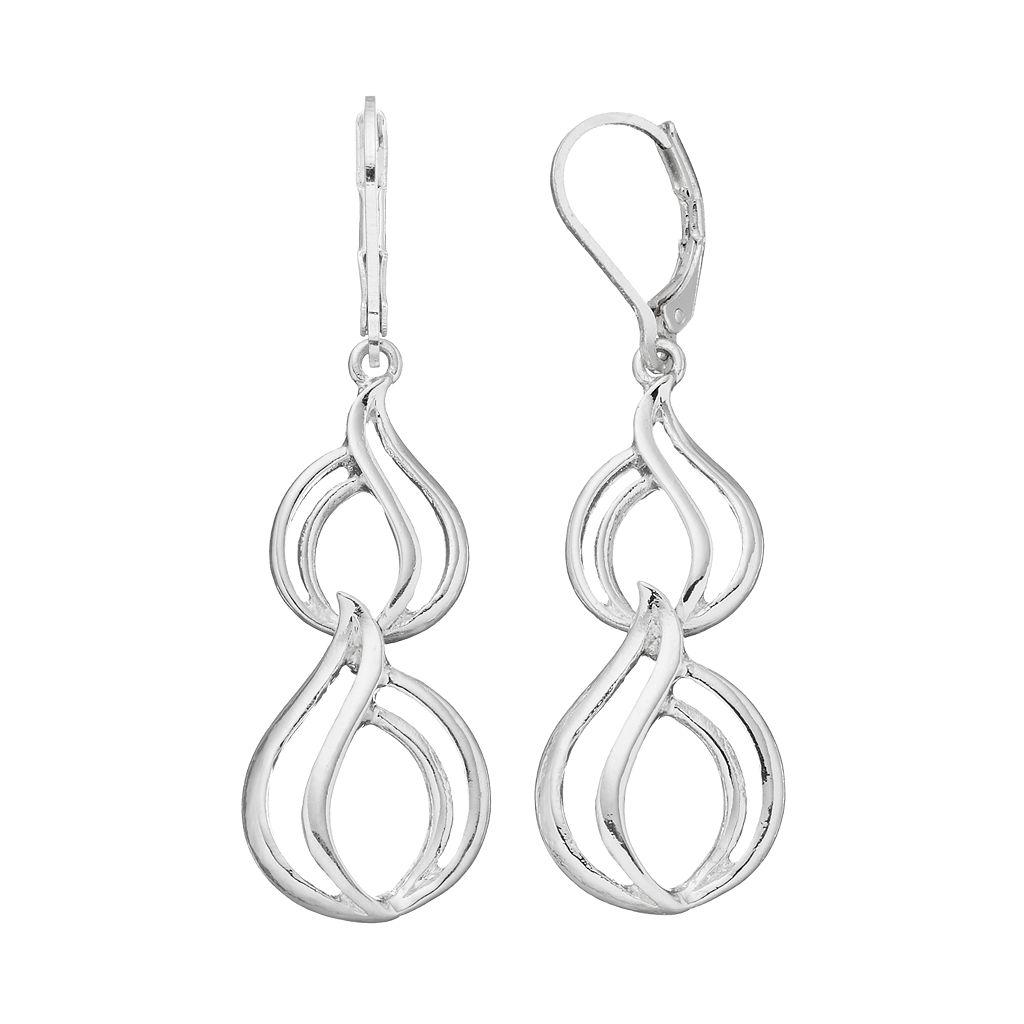 Napier Openwork Nickel Free Double Teardrop Earrings