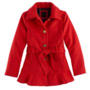 Girls 7-16 SO® Red Belted Faux Wool Peacoat