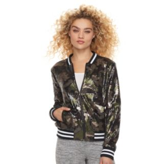 madden NYC Juniors' Sequin Camo Bomber Jacket
