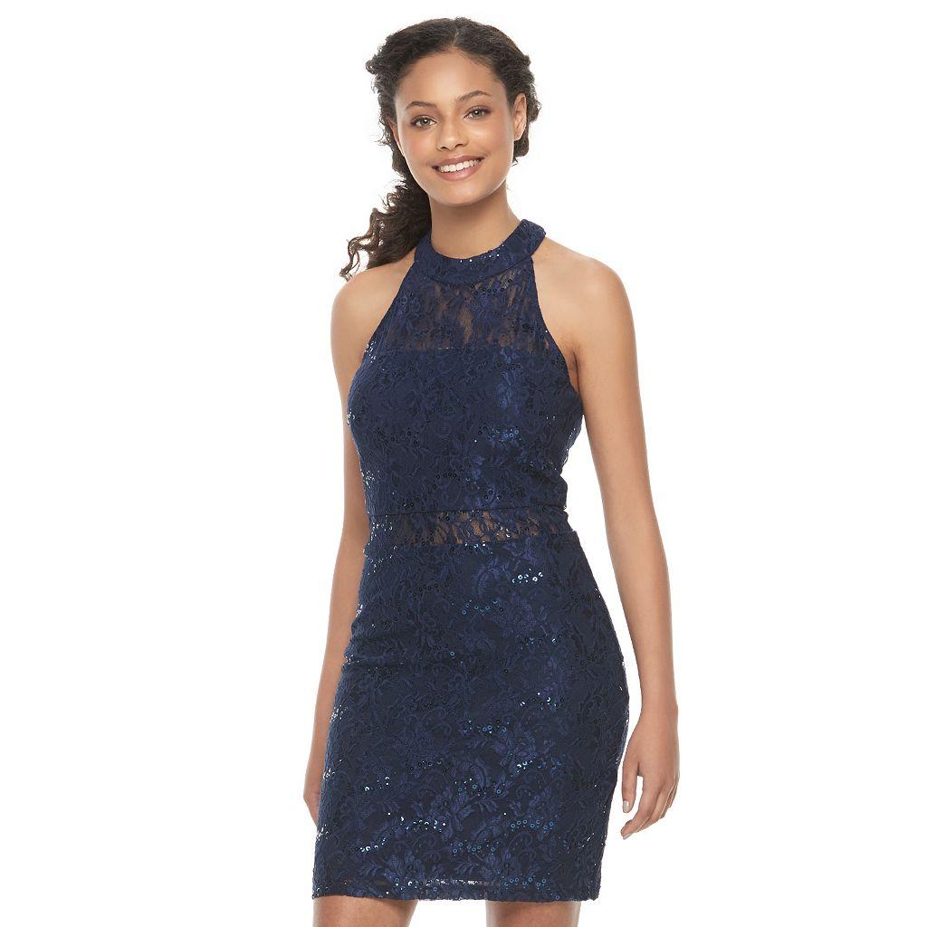 Juniors' Speechless Lace Sequin Illusion Bodycon Dress