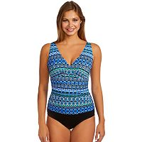 Women's Croft & Barrow® Tummy Slimmer Abstract Twist One-Piece Swimsuit