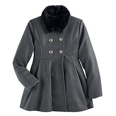 Girls 6-12 SO® Faux-Fur Collar Wool Coat