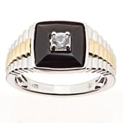 Two Tone Sterling Silver & Lab-Created Onyx & White Sapphire Men's Ring