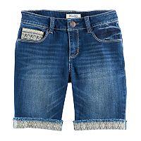 Girls 7-16 Mudd® Embroidered Hem Dark Wash Denim Bermuda Shorts
