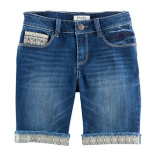 Girls 7-16 Mudd® Embroidered Hem Dark Wash Denim Bermuda Shorts