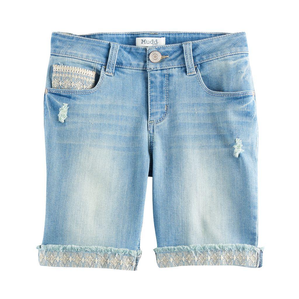Girls 7-16 Mudd® Embroidered Hem Light Wash Denim Bermuda Shorts