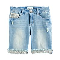 Girls 7-16 Mudd® Embroidered Hem Light Wash Denim Bermuda Shorts