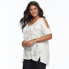 Plus Size Apt. 9® Mixed-Media V-Neck Top