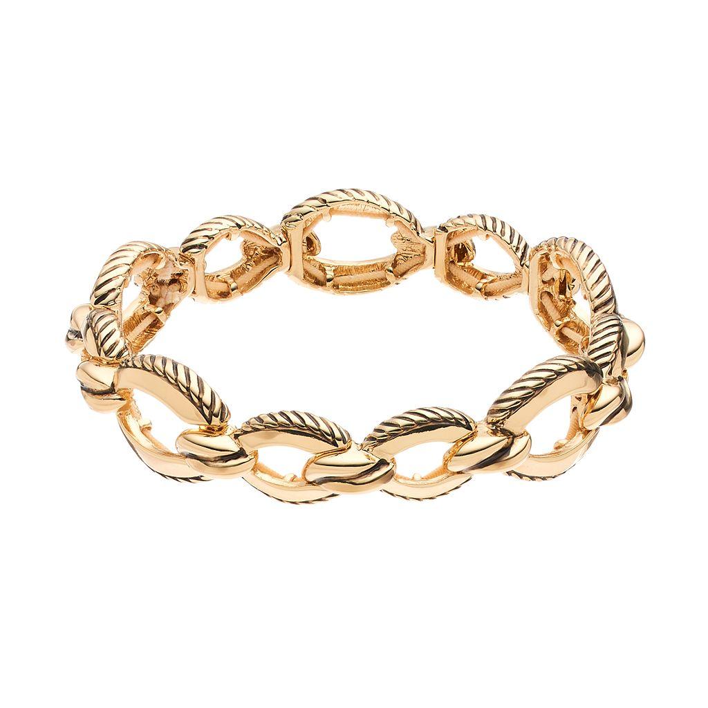Napier Textured Oval Link Stretch Bracelet