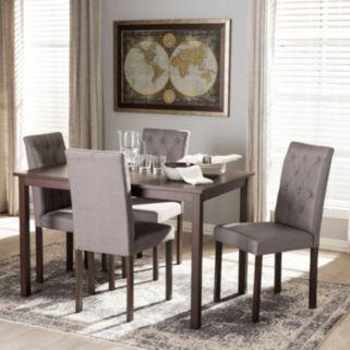 Baxton Studio Gardner Tufted Dining Chair & Table 5-piece Set