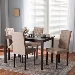 Baxton Studio Gardner Tufted Dining Chair & Table 5 pc Set