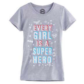"Girls 7-16 DC Comics Wonder Woman, Superman & Batman ""Every Girl Is A Super Hero"" Tee"