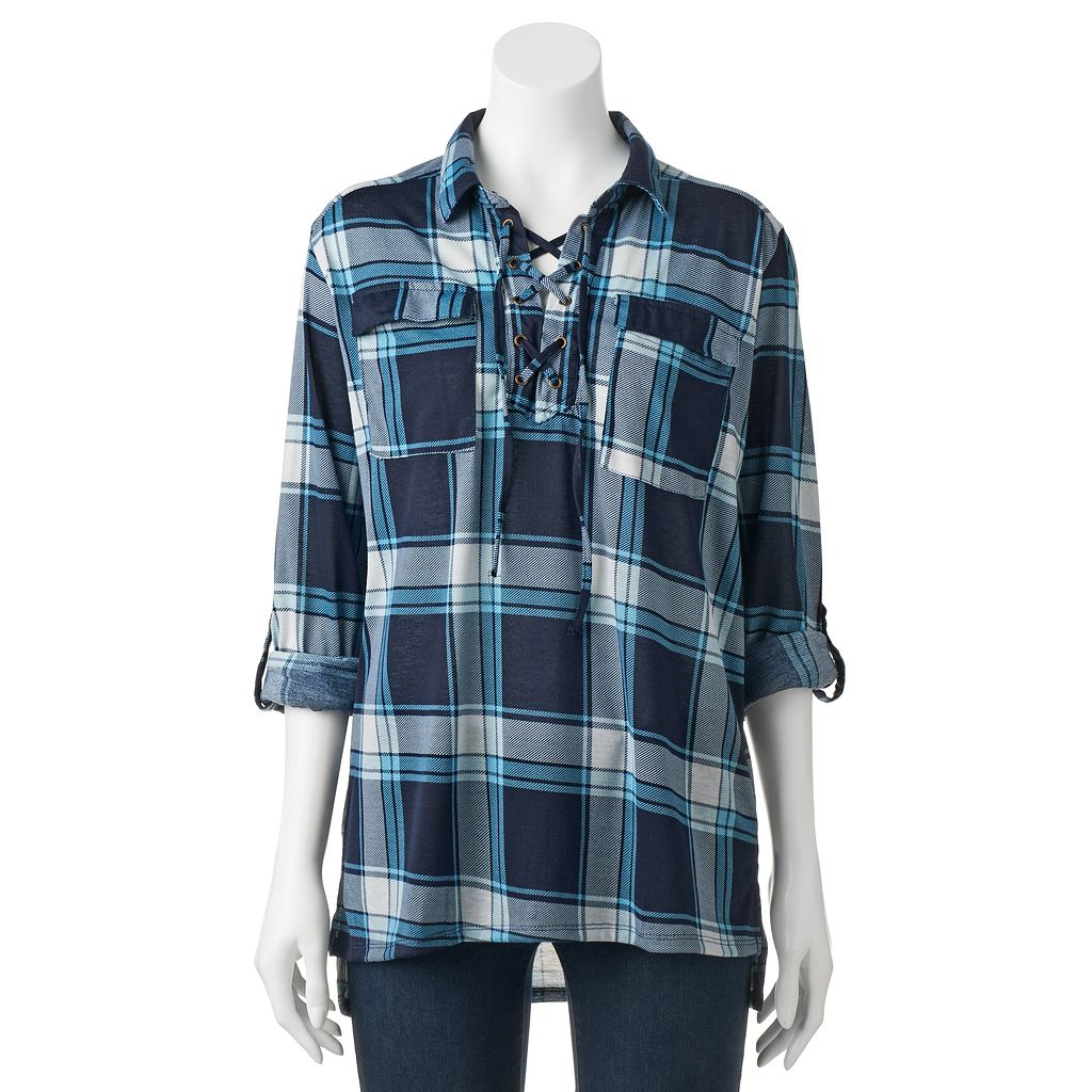 Women's French Laundry Plaid Lace-Up Tunic