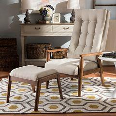 Baxton Studio Roxy Accent Chair & Ottoman 2 pc Set
