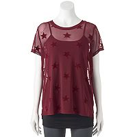 madden NYC Juniors' Velvet Star Mesh Top