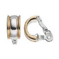 Napier Two Tone Nickel Free Clip On Hoop Earrings