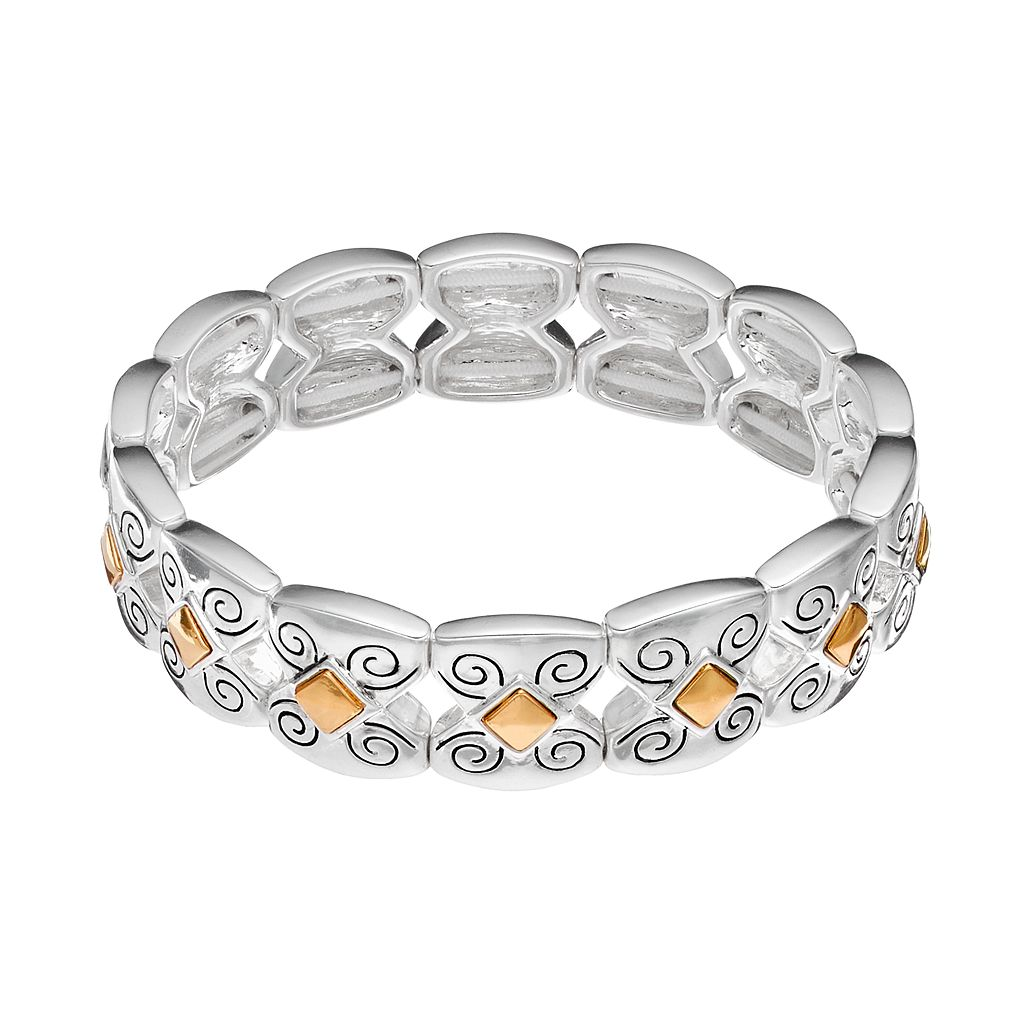 Napier Two Tone Filigree Stretch Bracelet