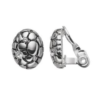 Napier Pebbled Oval Nickel Free Clip On Earrings