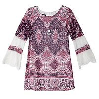 Girls 7-16 IZ Amy Byer Lace Bell Sleeve Shift Dress with Necklace