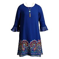 Girls 7-16 Emily West Printed Chiffon Peasant Dress with Necklace
