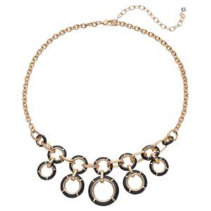 Napier Black Circle Link Statement Necklace