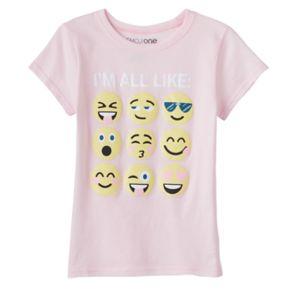 """Girls 7-16 Emoji """"I'm All Like"""" Graphic Tee"""