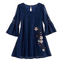 Girls 7-16 My Michelle Floral Embroidered Cold Shoulder Dress