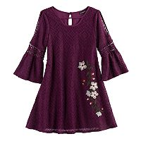 Girls 7-16 My Michelle Floral Embroidered Cold Shoulder Dress