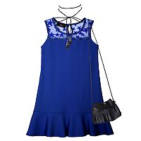 Girls 7-16 IZ Amy Byer Star Lace Shift Dress with Wrap Choker Necklace & Crossbody Purse