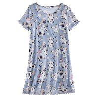 Girls 7-16 Love, Fire Floral Mesh T-Shirt Dress