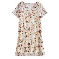 Girls 7-16 Love, Fire Floral Mesh T-Shirt Dress