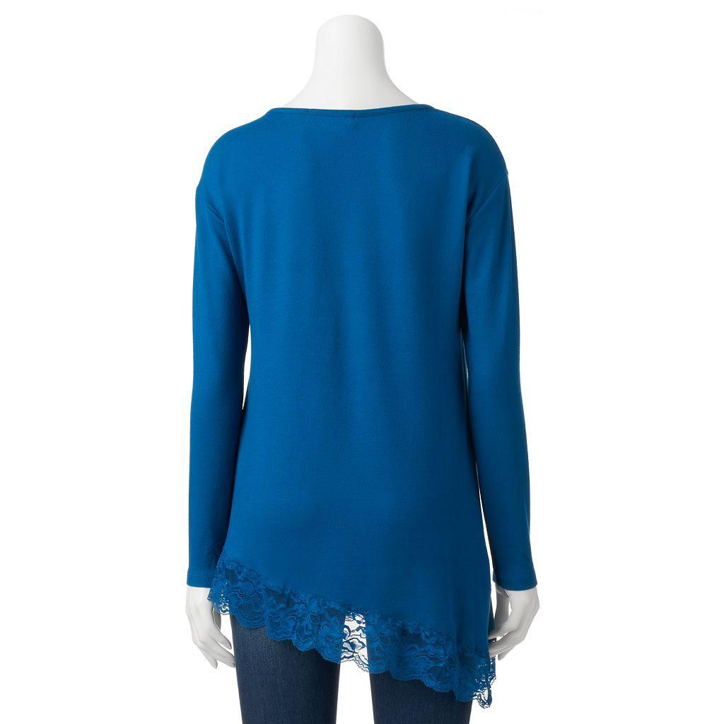 Women's French Laundry Lace Asymmetrical-Hem Top