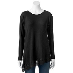 Women's French Laundry Lace Asymmetrical-Hem Top