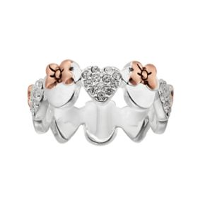 Disney's Minnie Mouse Two Tone Crystal Heart Ring