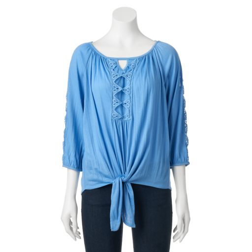 Women's French Laundry Embroidered Knot-Front Top