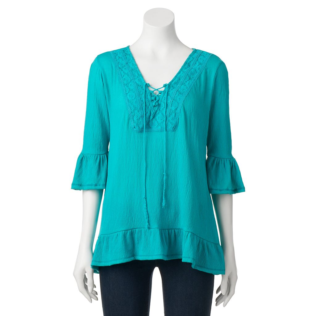 Women's French Laundry Lace-Up Ruffle Top