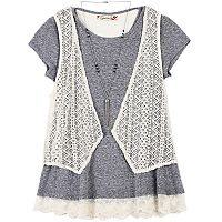 Girls 7-16 Speechless Crochet Vest & Lace Hem Tee with Necklace